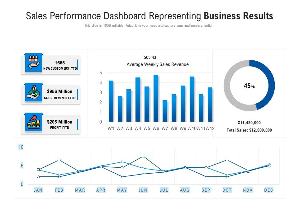 Sales Performance Dashboard Representing Business Results