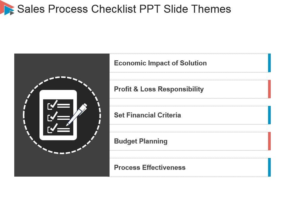 Sales Process Checklist Ppt Slide Themes Powerpoint Slide