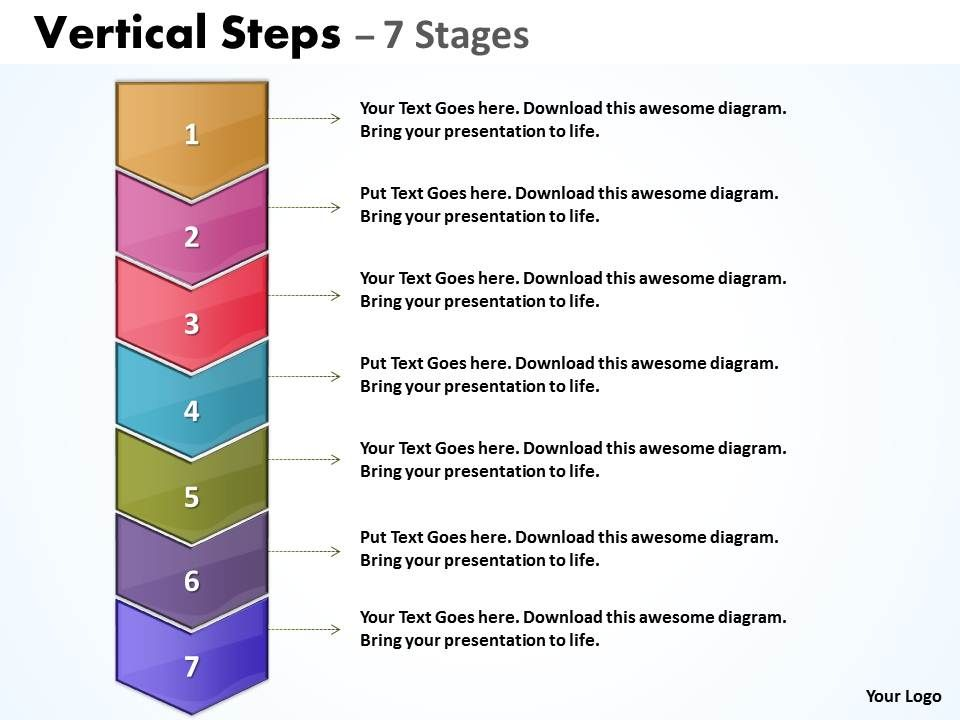 sales process vertical steps with 7 stages powerpoint presentation