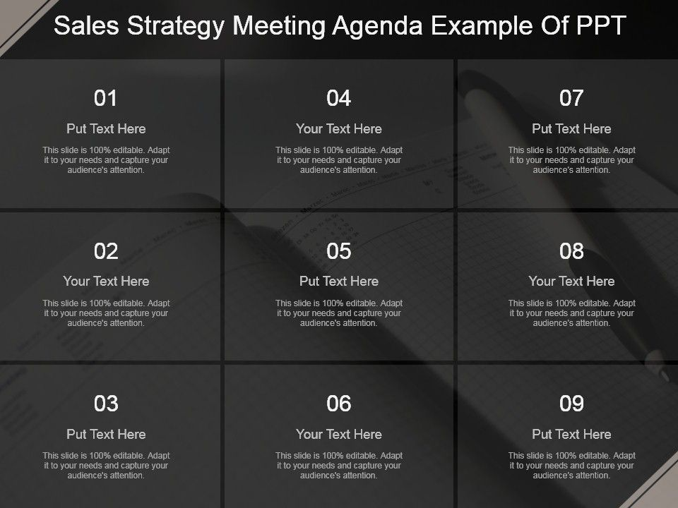 Sales Strategy Meeting Agenda Example Of Ppt  Powerpoint