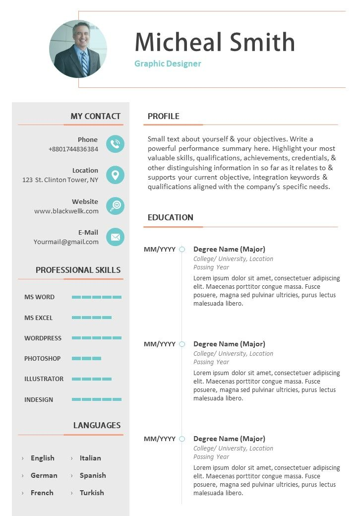 Sample Bio Data Cv Example Template For Job Templates Powerpoint