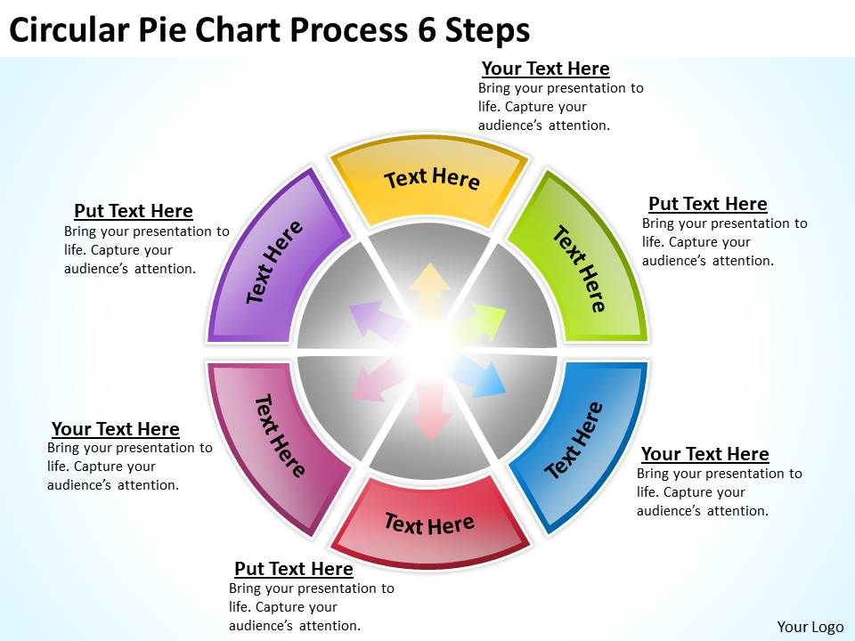 sample business model diagram circular pie chart process 6 steps, Powerpoint templates
