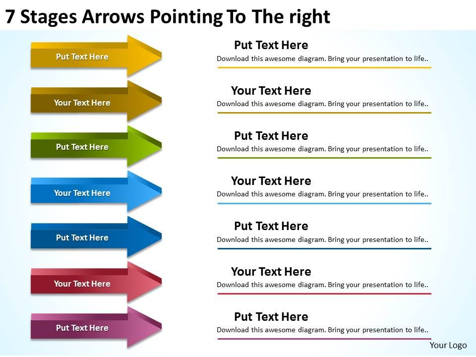 Sample Business Process Diagram 7 Stages Arrows Pointing To The