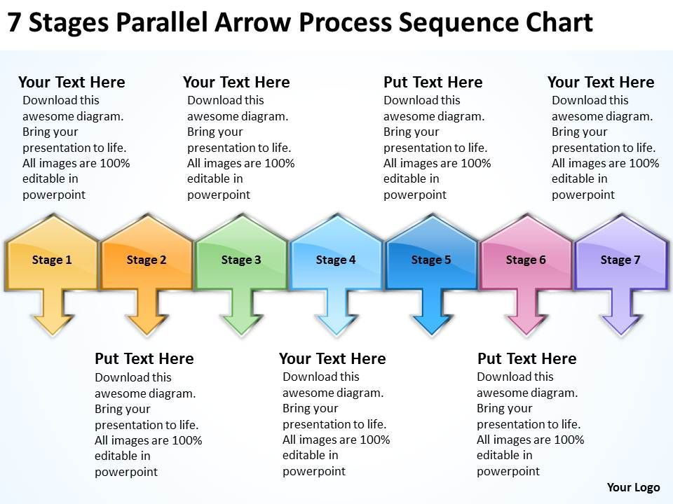 sample business process diagram 7 stages parallel arrow sequence