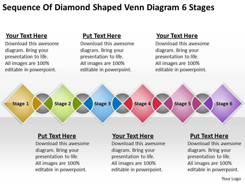 Sample Business Process Diagram Of Diamond Shaped Venn 6 Stages