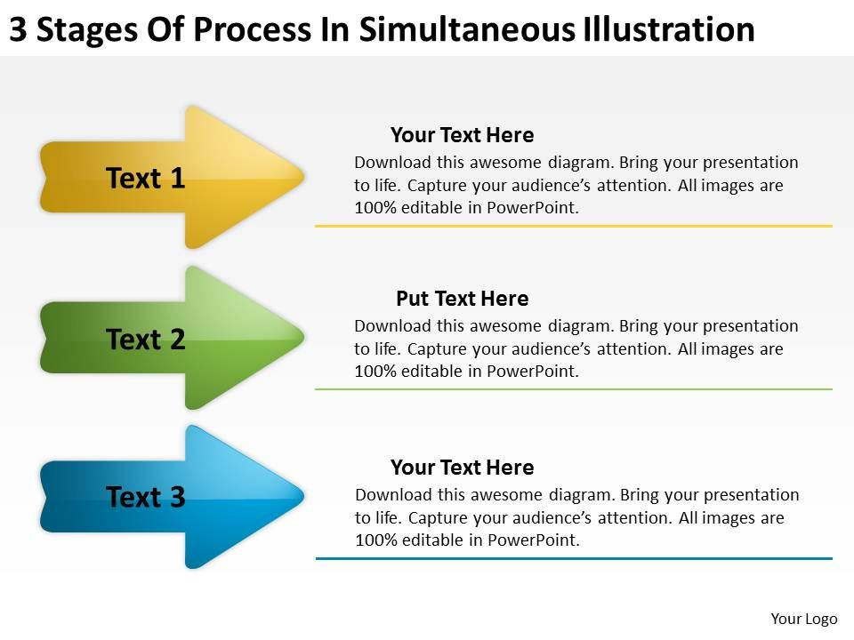 Sample Business Process Diagram Stages Of Simultaneous Illustration