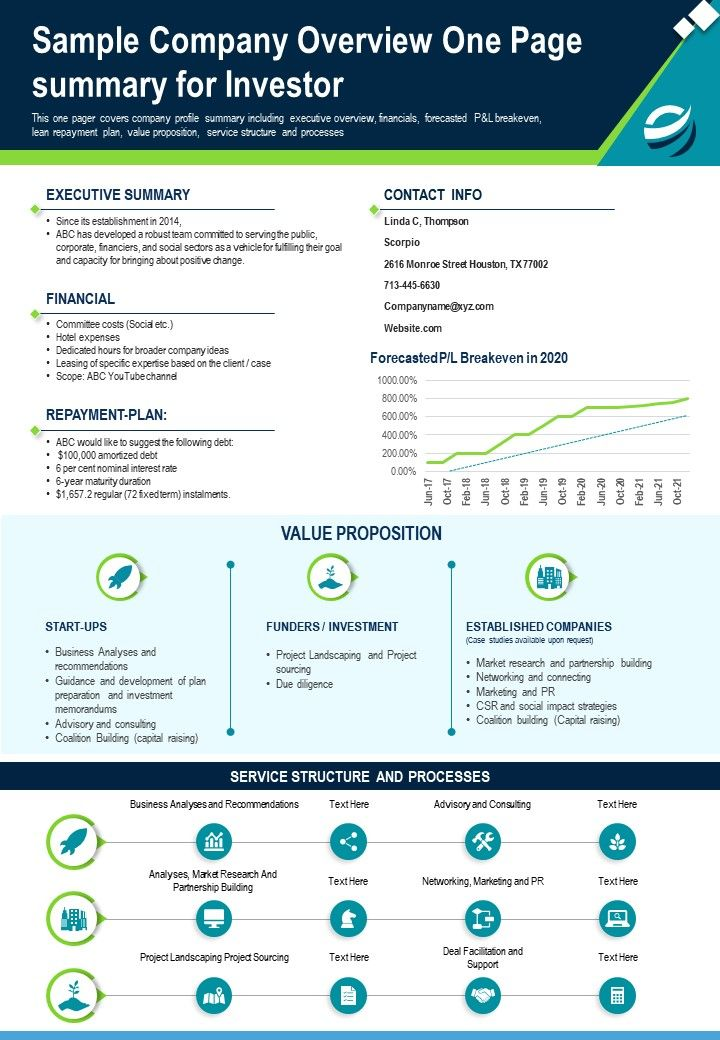 Sample Company Overview One Page Summary For Investor Presentation Report PPT PDF Document