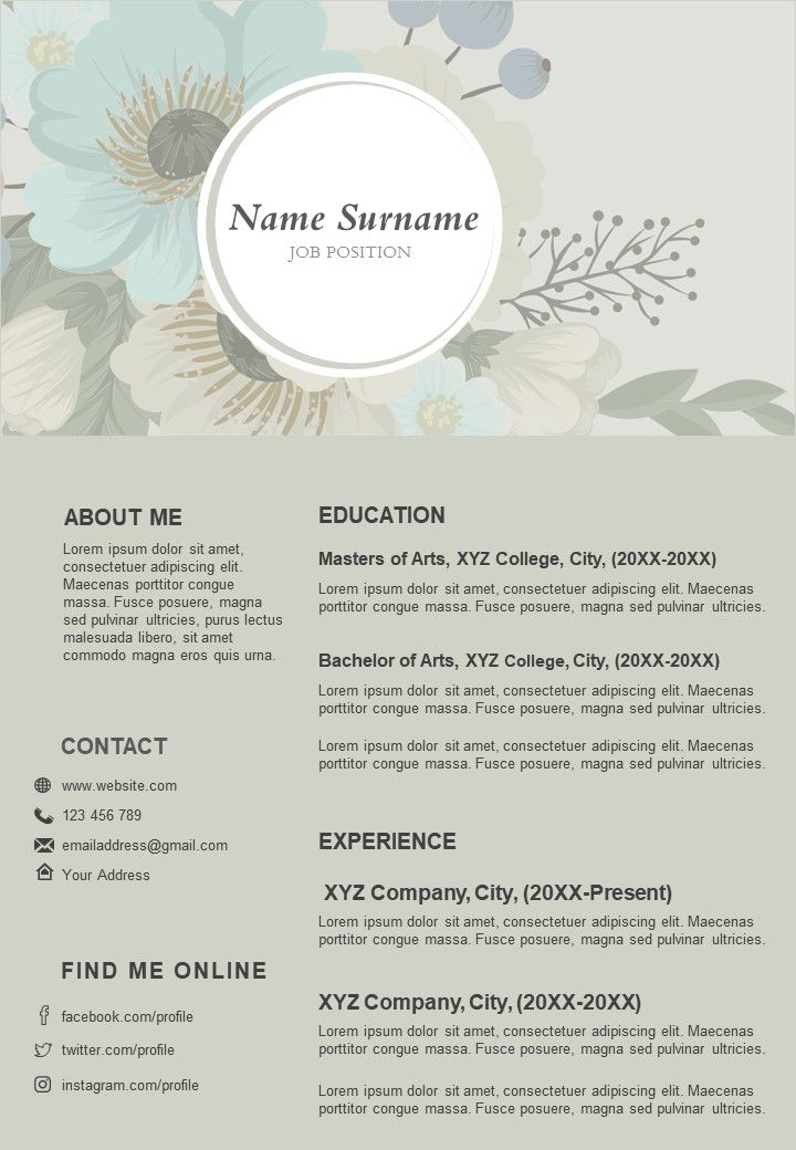 Sample CV Resume Template With Jobs Details