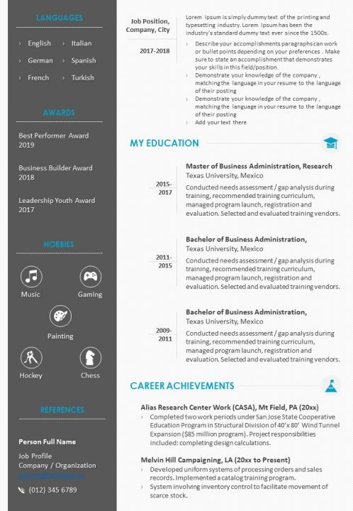 Sample Format Of Resume For Job Application Template