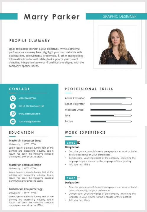 Sample Graphic Designer Cv With Career Summary Template