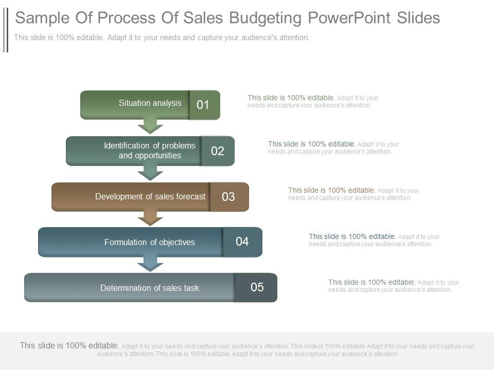 sample of process of sales budgeting powerpoint slides templates