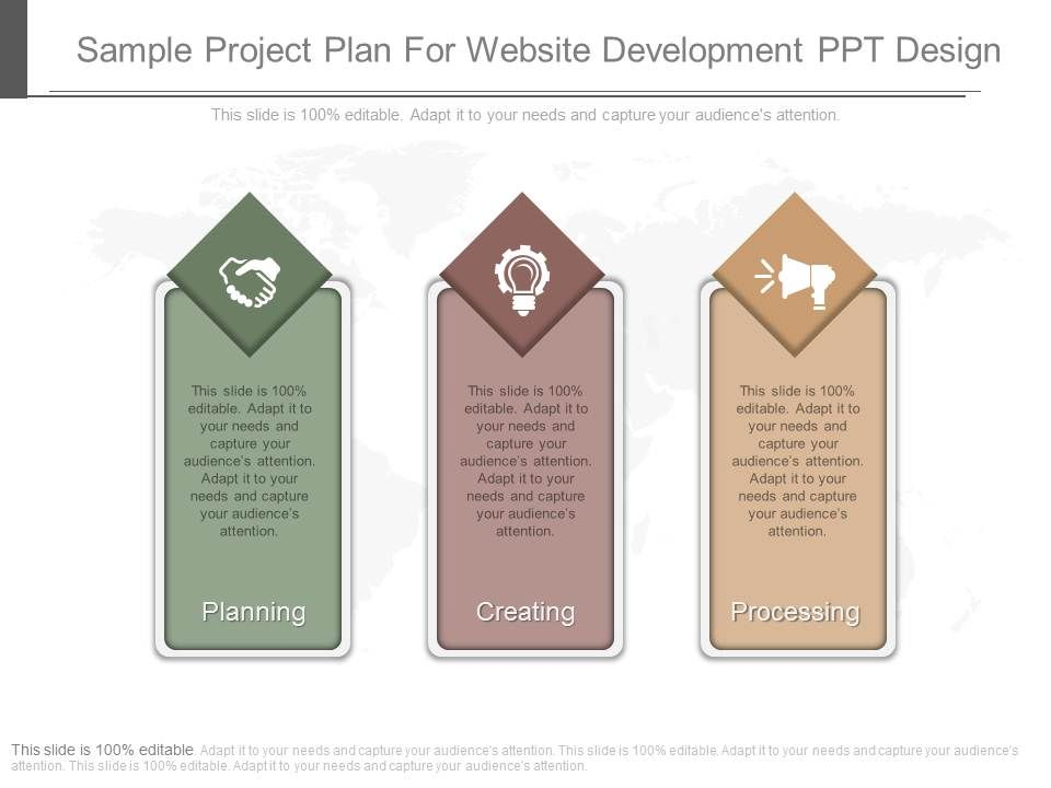 sample project plan for website development ppt design templates