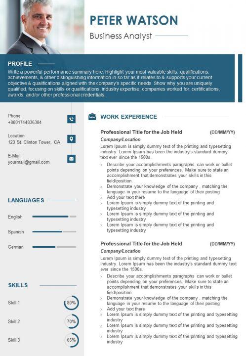 Sample Resume Format Cv Template For Job Search Presentation