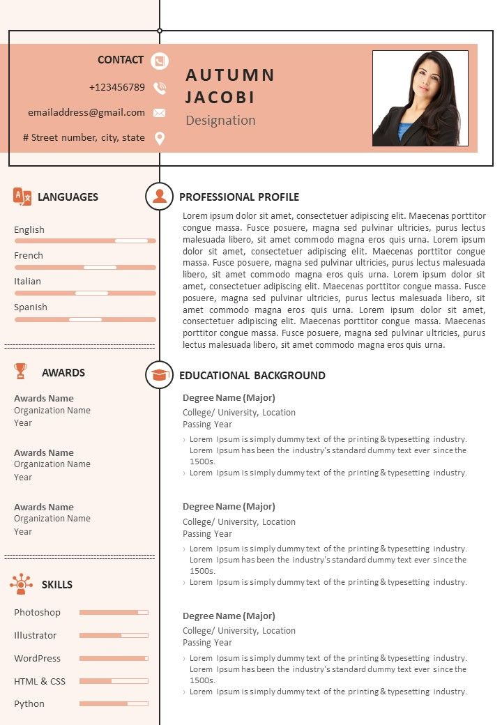 Sample Resume Format For Job Search Powerpoint Templates Designs Ppt Slide Examples Presentation Outline