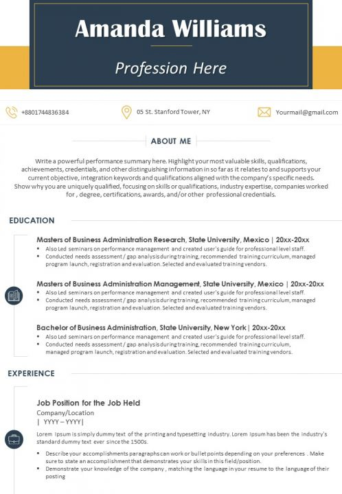 Sample Resume Template With Profile Summary For Professionals