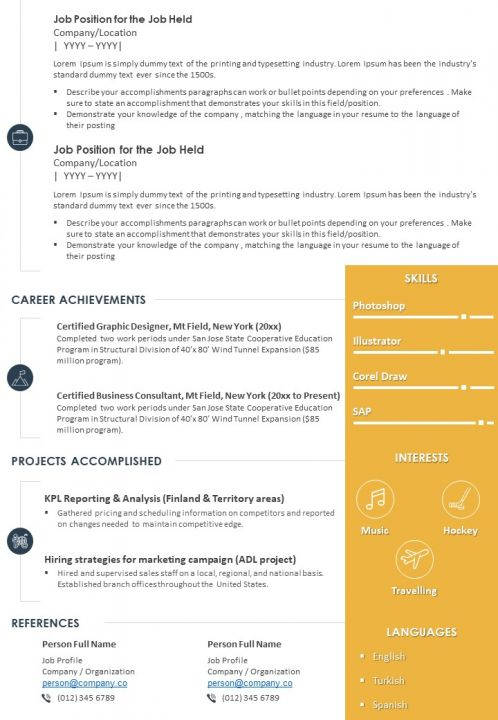Sample Resume Template With Profile Summary For Professionals | PowerPoint  Slides Diagrams | Themes for PPT | Presentations Graphic Ideas