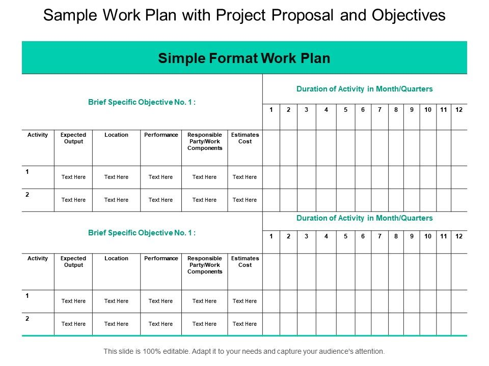 Sample Work Plan With Project Proposal And Objectives ...