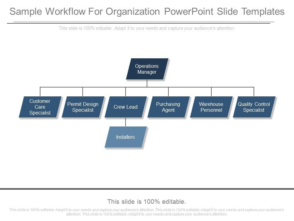 skillfully designed management slides showing sample workflow for organization powerpoint. Black Bedroom Furniture Sets. Home Design Ideas