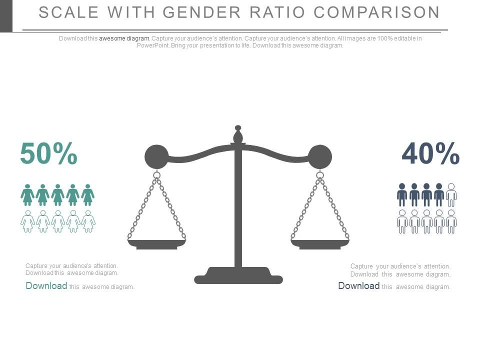 scale_with_gender_ratio_comparision_powerpoint_slides_Slide01