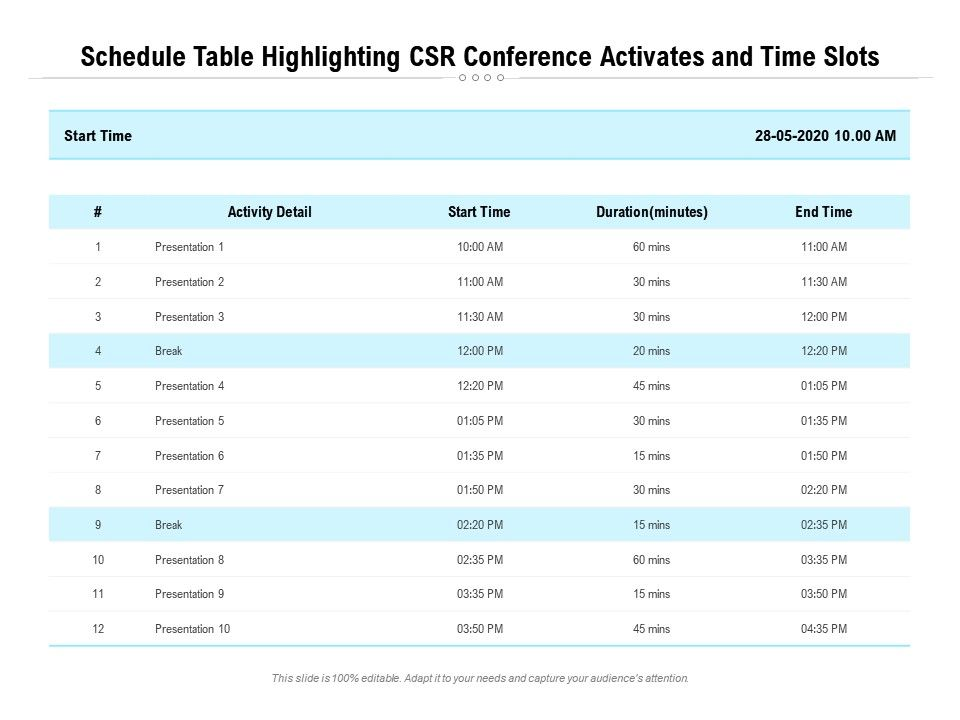 Schedule Table Highlighting CSR Conference Activates And Time Slots