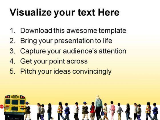 School Bus Travel PowerPoint Template 0810