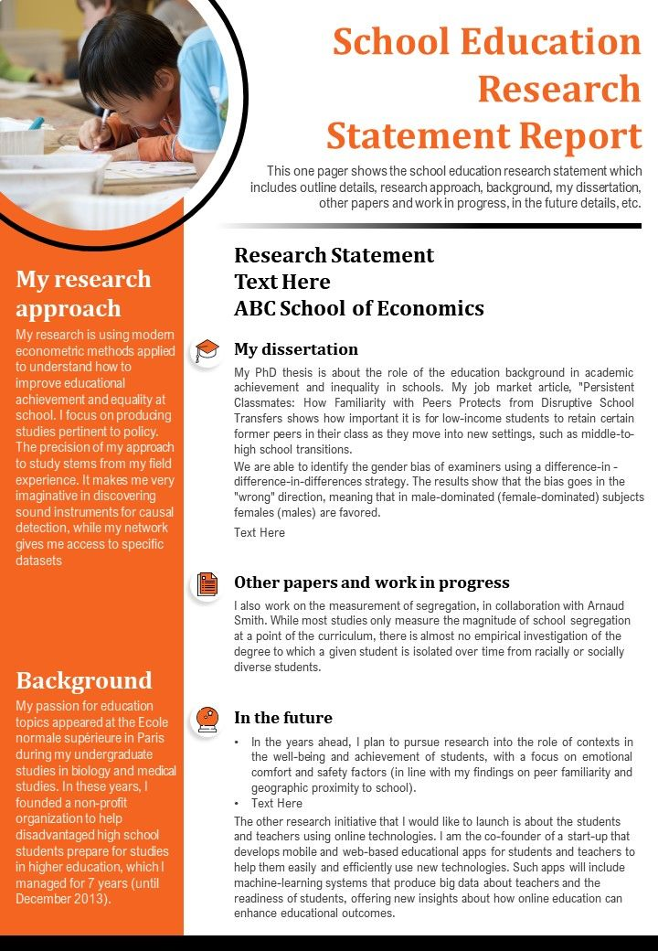 School Education Research Statement Report Presentation Report Infographic PPT PDF Document