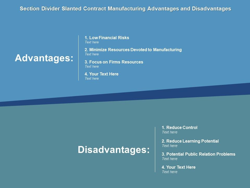 Section Divider Slanted Contract Manufacturing Advantages