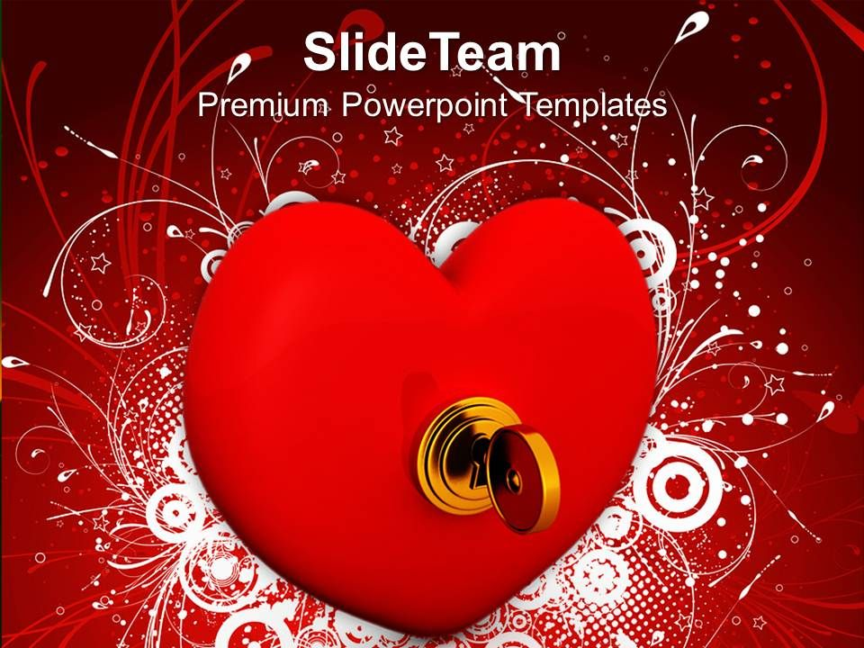 security key on heart love powerpoint templates ppt themes and
