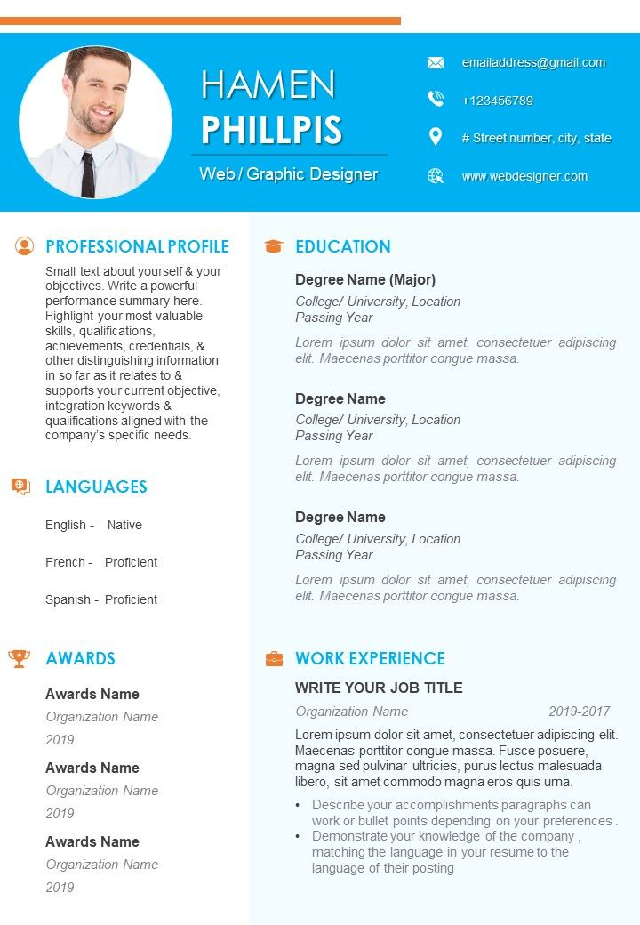 Self Introduction Example Resume For Job Search Powerpoint Slide