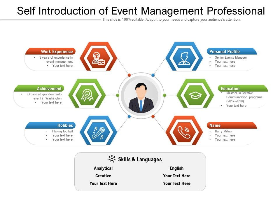 Self Introduction Of Event Management Professional