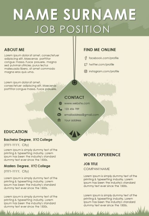 Self Introduction Visual Resume Template With Work Experience