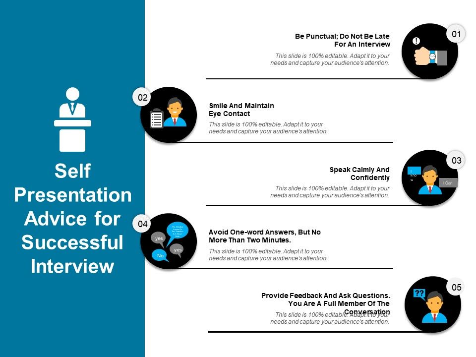 self presentation advice for successful interview sample of ppt