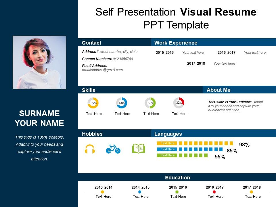 self presentation visual resume ppt template