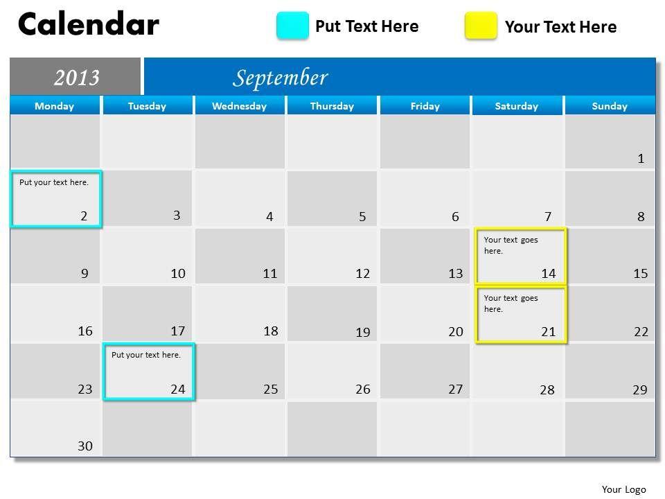 september_2013_calendar_powerpoint_slides_ppt_templates_Slide01