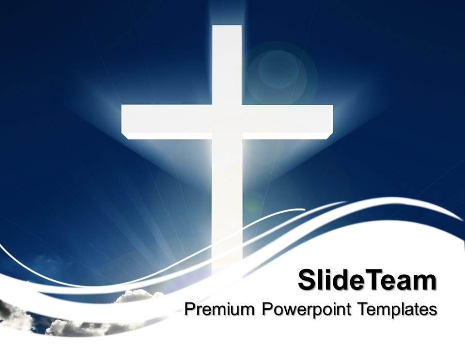 sermon_ideas_powerpoint_templates_white_cross_beaming_sky_christmas_teamwork_ppt_design_Slide01