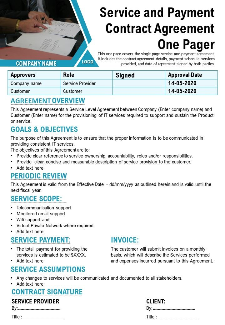 Service And Payment Contract Agreement One Pager Presentation Report Infographic PPT PDF Document
