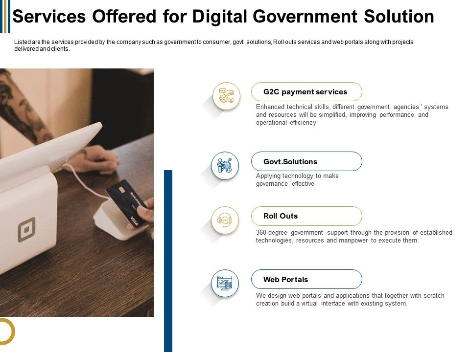 Services Offered For Digital Government Solution Web Ppt Powerpoint Presentation Layouts Slides
