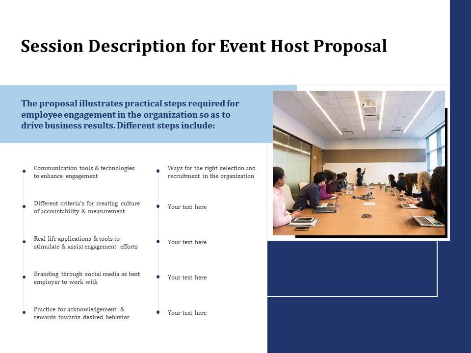 Session Description For Event Host Proposal Ppt Powerpoint Presentation Example