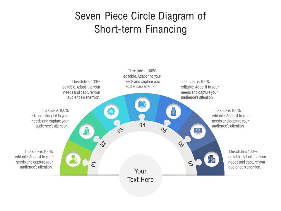 Seven Piece Circle Diagram Of Short Term Financing Infographic Template