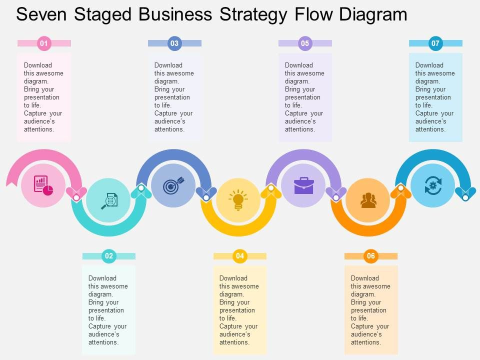 seven_staged_business_strategy_flow_diagram_flat_powerpoint_design_Slide01