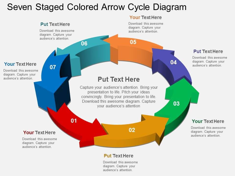 seven_staged_colored_arrow_cycle_diagram_flat_powerpoint_desgin_Slide01