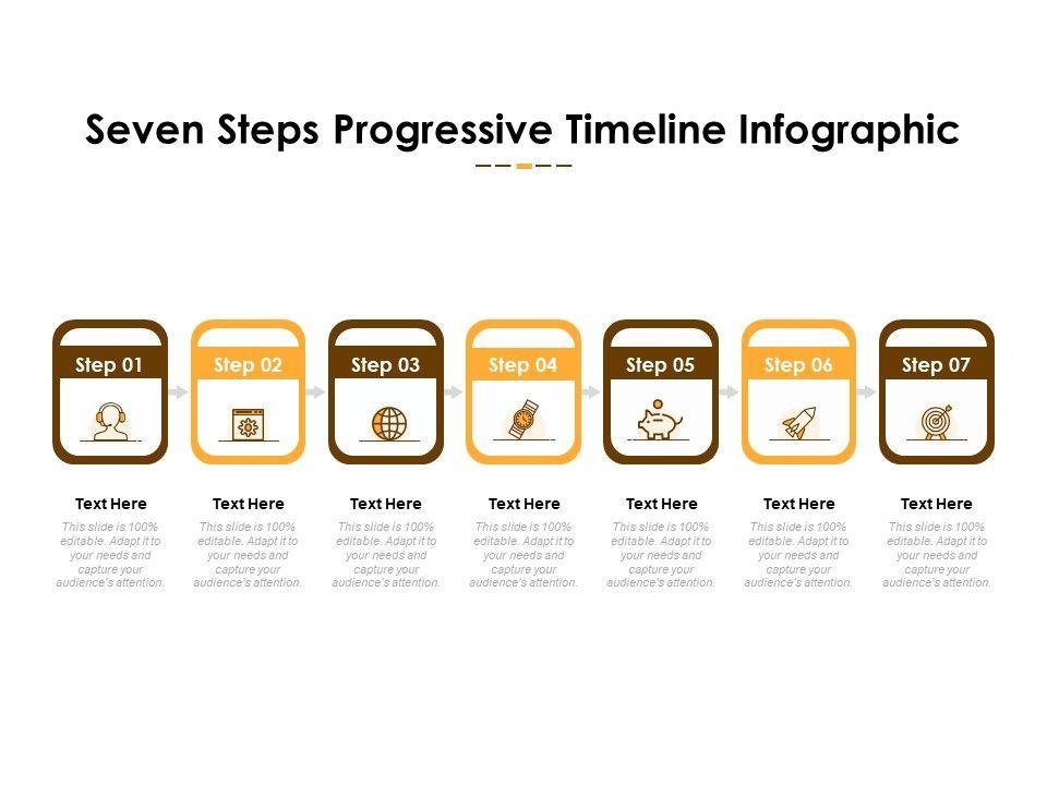 Seven Steps Progressive Timeline Infographic