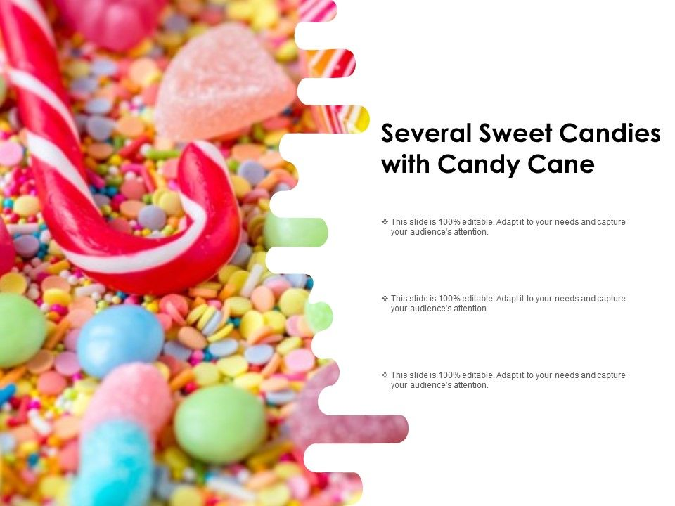 Several Sweet Candies With Candy Cane | Presentation
