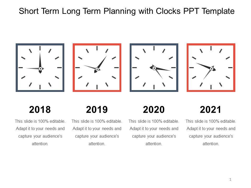 Short Term Clock : Short term long planning with clocks ppt template