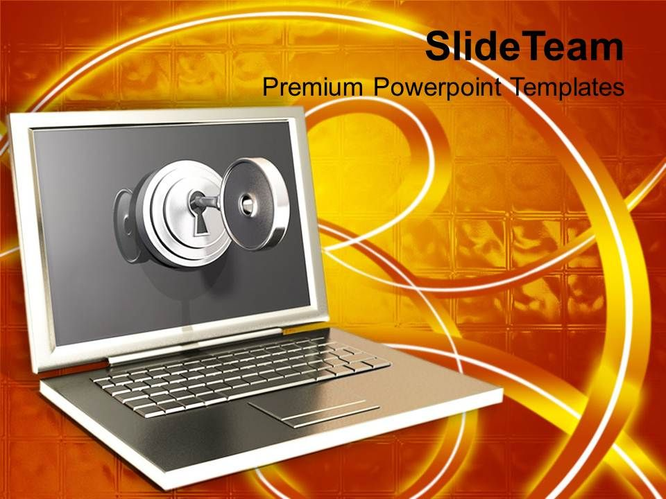 silver_laptop_with_lock_key_security_powerpoint_templates_ppt_themes_and_graphics_0113_Slide01