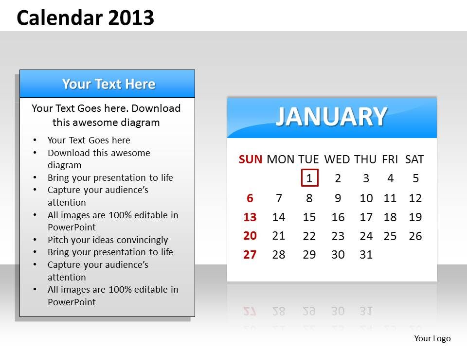 Simple Elegant Complete 2013 Calender Template And Powerpoint