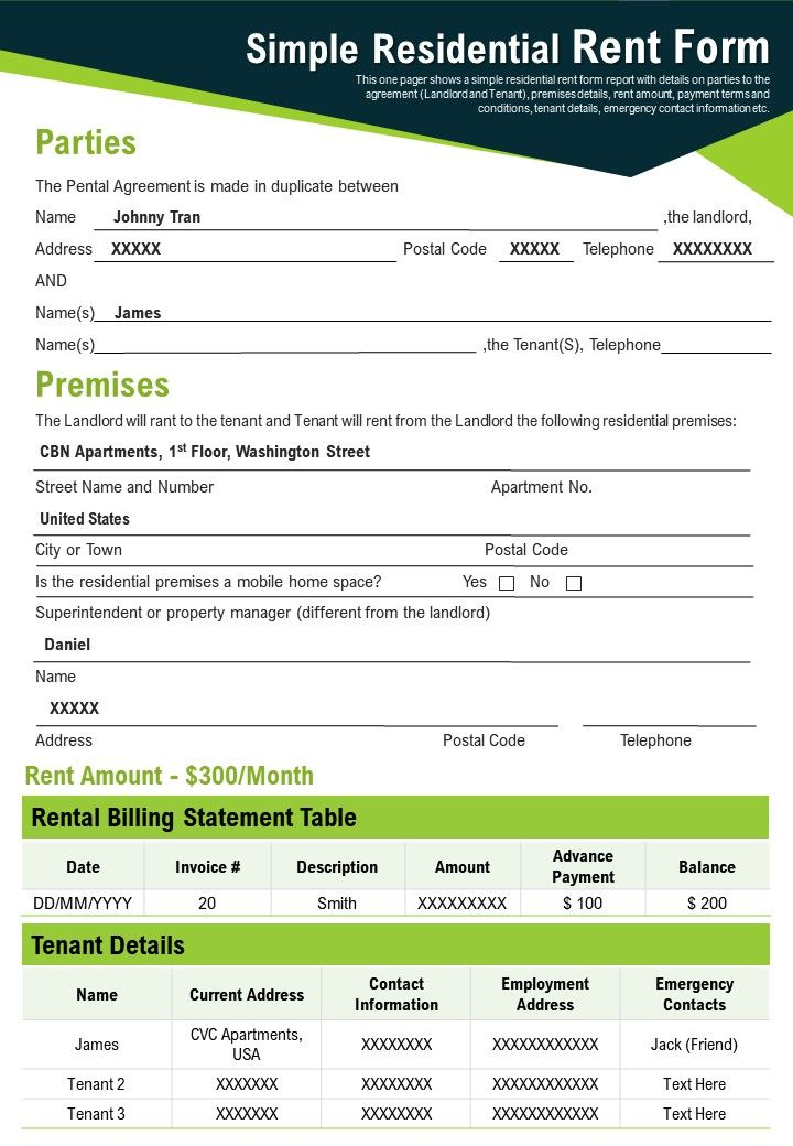 Simple Residential Rent Form Presentation Report Infographic PPT PDF Document
