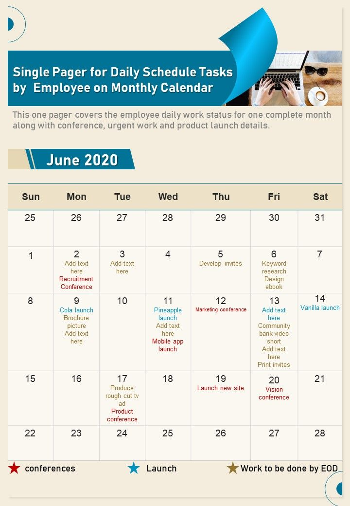 Single Pager For Daily Schedule Tasks By Employee On Monthly Calendar Report Infographic PPT PDF Document