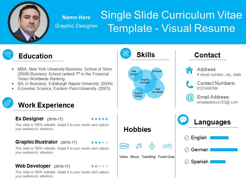 Single Slide Curriculum Vitae Template Visual Resume | Presentation ...