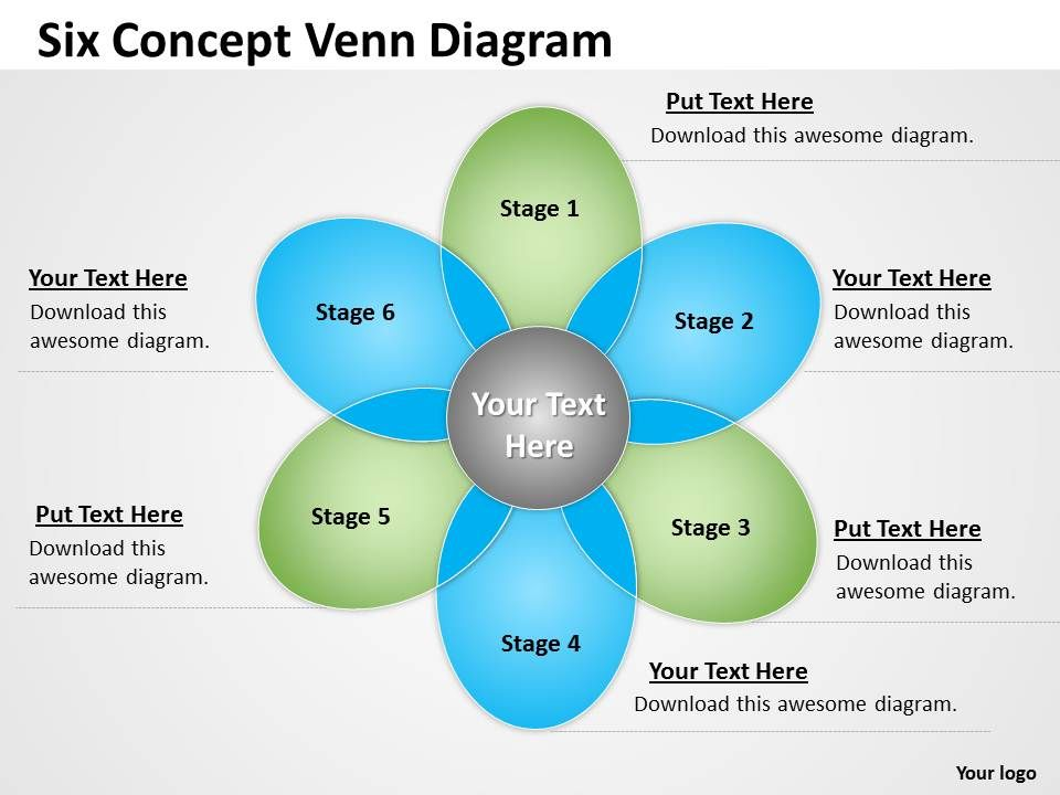 Six Concept Venn Diagram Slide on set concepts and venn diagram